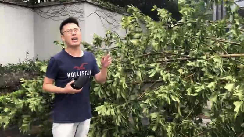交通廣播記者婁邵明在市區被臺風折斷的樹木旁連線.jpg